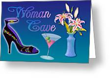 Woman Cave With Stargazers Greeting Card