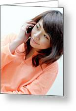Woman Chatting On A Mobile Phone Greeting Card