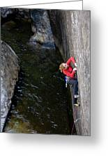 Woman Climbing Above A River Greeting Card