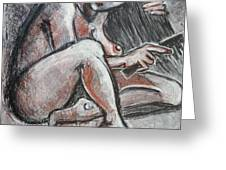 Woman Combing Her Hair - Nudes Greeting Card