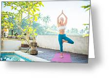 Woman Doing Yoga In The Morning Greeting Card