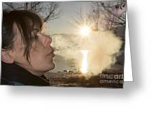 Woman Exhalation Greeting Card