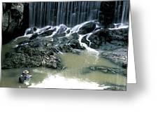 Woman Flyfishing Below Waterfall Greeting Card