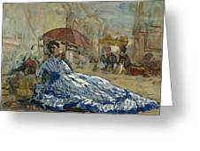 Woman In A Blue Dress Under A Parasol Greeting Card