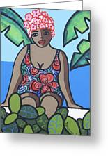 Woman In Bathing Suit 4 Greeting Card