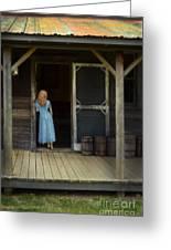 Woman In Cabin Doorway Greeting Card