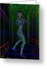 Woman In Cyber Passage Greeting Card
