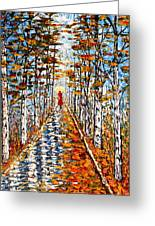 Woman In Red In Fall Rainy Day Greeting Card