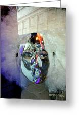 Woman In Silver Mask Greeting Card