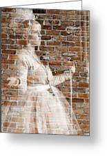 Woman In The Bricks Greeting Card
