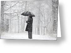 Woman In The Forest With An Umbrella Greeting Card