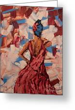 Woman In The Red Gown Greeting Card by Lee Ann Newsom