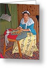 Woman Making Lace In Louisbourg Living History Museum-1744-ns Greeting Card