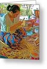 Woman Making Umbrella Ribs At Borsang Umbrella Factory In Chiang Mai-thailand Greeting Card