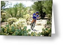 Woman Mountain Biking In Arizona Greeting Card