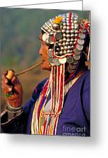 Akha Hill Tribe Woman  Thailand Greeting Card