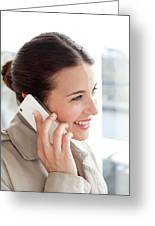 Woman On A Mobile Phone Greeting Card