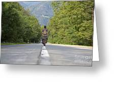 Woman On A Road Greeting Card