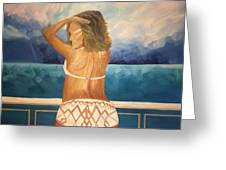 Woman On A Yacht Greeting Card