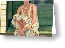 Woman On Porch Greeting Card