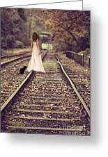 Woman On Railway Line Greeting Card