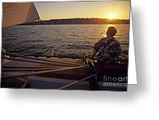 Woman On Sailboat Sunset Greeting Card