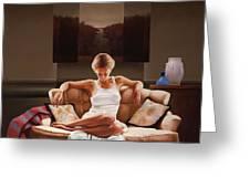 Woman On Sofa Greeting Card