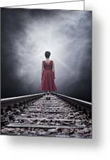 Woman On Tracks Greeting Card