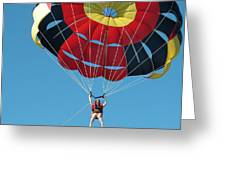 Woman Parasailing Greeting Card by Rob Huntley