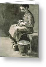 Woman Peeling Potatoes, 1882 Greeting Card