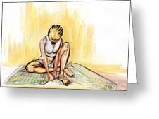 Woman Plaiting Mats In Rwanda Greeting Card