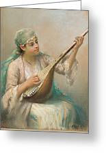 Woman Playing A String Instrument Greeting Card