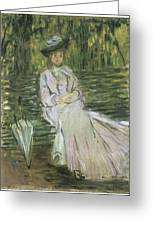 Woman Seated On A Bench Greeting Card