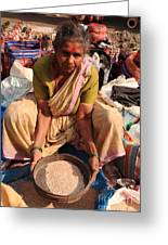 Woman Sifting In A Street Market India Greeting Card
