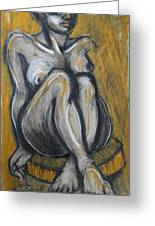 Woman Sitting On Round Chair 2- Female Nude  Greeting Card