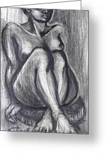 Woman Sitting On Round Chair - Female Nude Greeting Card