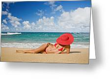 Woman Sitting On The Beach Greeting Card