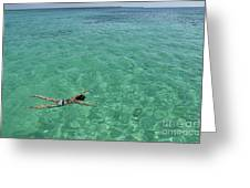 Woman Snorkeling By Turquoise Sea Greeting Card