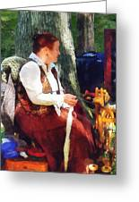 Woman Spinning Yarn At Flea Market Greeting Card