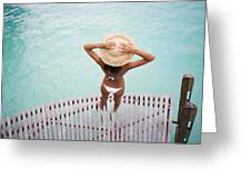 Woman Standing On Dock Greeting Card