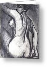 Woman Turning Her Back - Female Nude Greeting Card