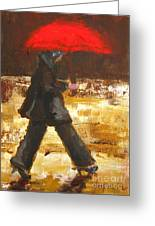 Woman Under A Red Umbrella Greeting Card