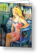 Woman Waiting  Greeting Card by Trudi Doyle