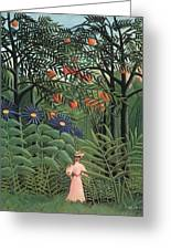 Woman Walking In An Exotic Forest Greeting Card