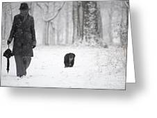 Woman Walking In The Snowy Forest Greeting Card