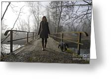Woman Walking With Her Dog On A Bridge Greeting Card