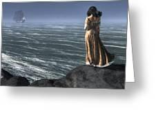Woman Watching A Ship Sailing Away Greeting Card
