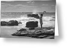 Woman Waving On Shore Greeting Card