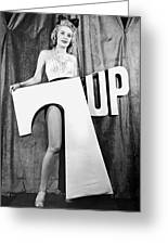 Woman With 7 Up Logo Greeting Card