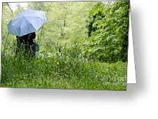 Woman With A Blue Umbrella Greeting Card
